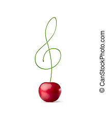 Cherry petiole in the shape of a treble clef