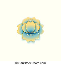 Cherry or citrus flower in Chinese paper style vector illustration isolated.