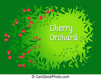Cherry orchard background. Frame made with leaves. Flat vector illustration.