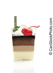 Cherry Panna Cotta pudding isolated in white background