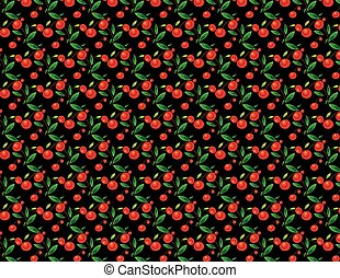 Cherry pattern on black background