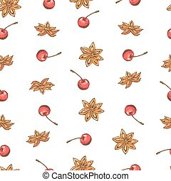 cherry pattern on white background, wrapping paper, vector textile fabric print vector