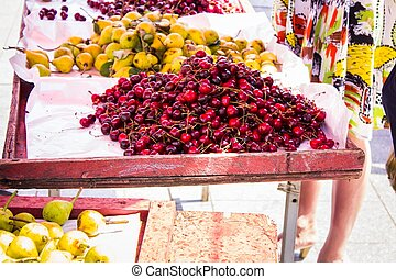 Cherry pear and other summer fruits