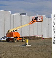 Cherry Picker 4219 - Elevated cherry picker on construction...