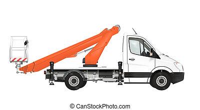 Cherry picker on the white background. Raster illustration.