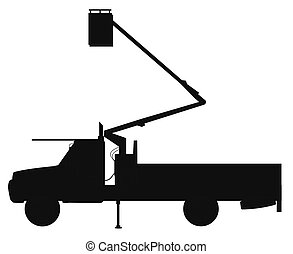 cherry picker truck in silhouette over white