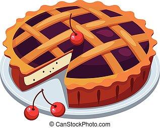 Cherry Pie and Slice. Vector