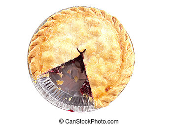 Cherry pie missing a slice, isolated on white