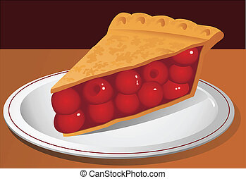 Illustration of a slice of cherry pie on a plate.
