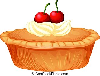 Cherry pie with cream and fresh cherries