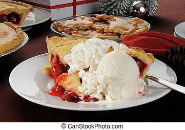 Cherry pie with ice cream