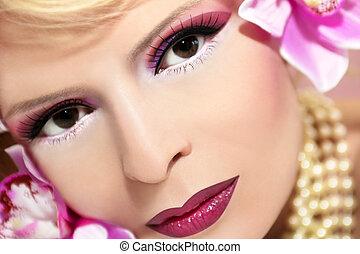 Cherry pink make up.