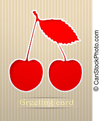 Cherry postcard vector illustration