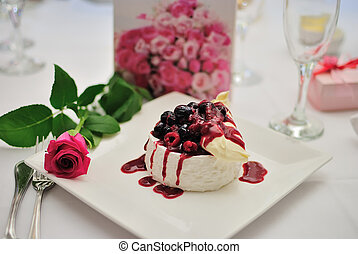Cherry Pudding Dessert - A cherry pudding dessert with rose...