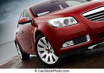 Cherry red car front detail - Cherry red car front bumper, ...