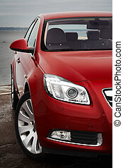Cherry red car front detail - Cherry red car front bumper,...