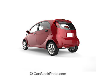 Cherry red electric compact car - rear view