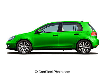 Green hatchback isolated on white