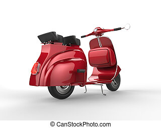 Cherry red vintage scooter - back view