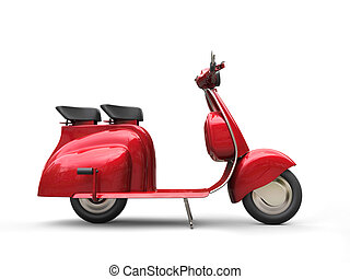 Cherry red vintage scooter - side view