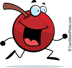 A happy cartoon cherry running and smiling.