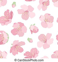 Cherry sakura bright pink bloom blossom floral seamless pattern texture. Asian japanese chinese traditional sign symbol spring flowers and buds. Vector design illustration. Clean white background.
