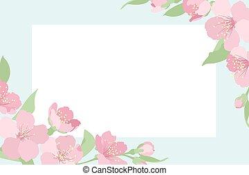 Cherry sakura tree blossom template corner frame