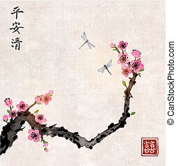 Cherry sakura tree branch in blossom and two dragonflies on vintage background. Traditional oriental ink painting sumi-e, u-sin, go-hua. Contains hieroglyphs - peace, tranquility, clarity, double luck