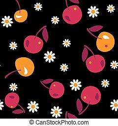 cherry seamless pattern on black background. vector illustration.
