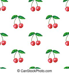 Cherry seamless pattern with leaf,