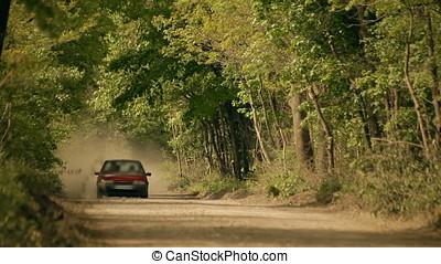 Cherry Sedan Running on Gravel Wood Road Stirring Up Dust