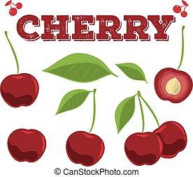 Cherry set. Hand drawn chili.