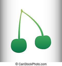 Cherry sign. Green gradient icon