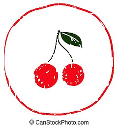 Cherry simple icon with leaves vector illustration