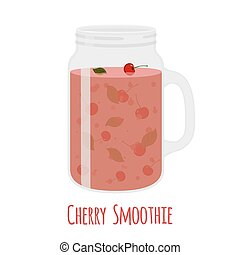 Cherry smoothie in mason jar. Glass with vegetarian detox drink