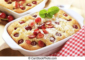 Cherry sponge cake - Freshly baked cherry sponge cake in a ...