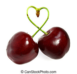 Two cherries tied together in a heart signifying love