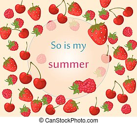 Cherry, strawberry and raspberry background