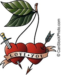 Cherry tattoo with the words love you