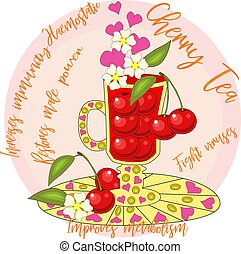 Cherry tea. Tea cooked with love. A tall glass for mulled ...