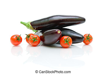 cherry tomatoes and eggplant on a white background close-up