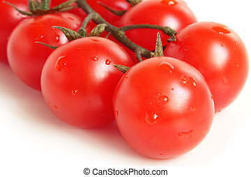 Cherry tomatoes covered drops