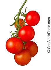Cherry Tomatoes - Juicy cherry tomatoes hanging on a vine,...