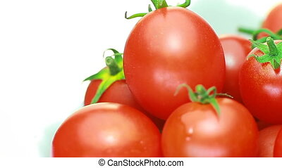 cherry tomatoes juicy rotate.concept of genuine and fresh...