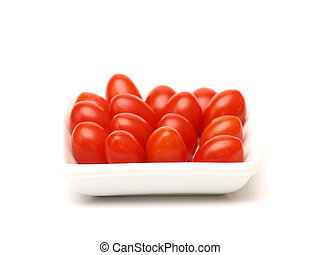 Cherry tomatoes on a white plate