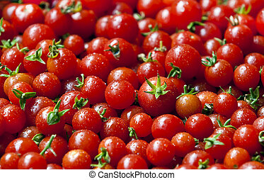 cherry tomatoes - A lot of organic red cherry tomatoes