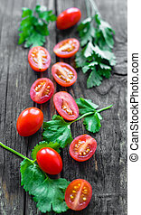 cherry tomatoes with shallow depth of field