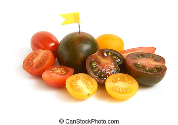 Cherry tomatoes with small flag
