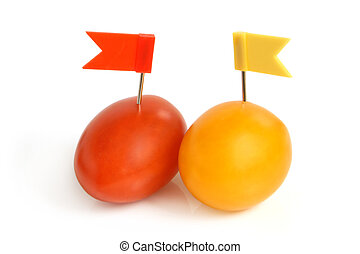 Cherry tomatoes with small flags