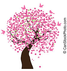 Cherry tree - Vector illustration of a cherry tree with...